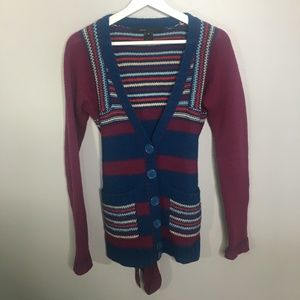 Marc Jacobs Blue and Purple Striped Cardigan